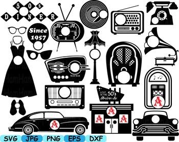Black Circle Monogram 50's Retro Vintage radio music sport car clip art svg 119S