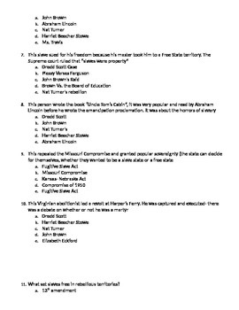 Black Civil Rights Multiple Choice Quiz
