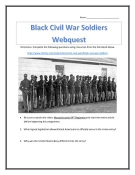 Black Civil War Soldiers- Webquest and Video Analysis with Key