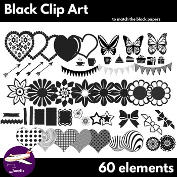 Black Clip Art Decoration Scrapbooking Elements - 60 items