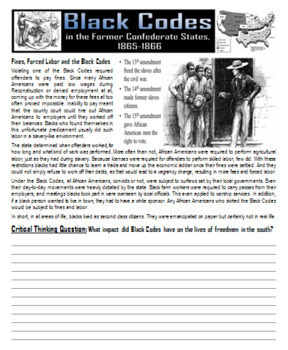 Black Codes During the Reconstruction Era