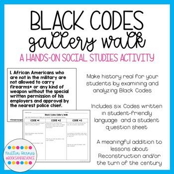 Black Codes Gallery Walk (Reconstruction/Segregation/Discrimination)
