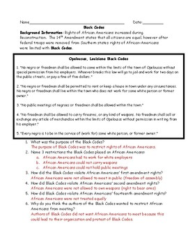 Black Codes Worksheet and Answer Key