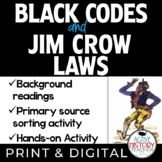 Black Codes and Jim Crow Laws - Summary - Sorting Activity