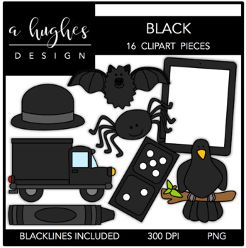 Black Color Clipart {A Hughes Design}