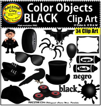 Black Color Objects Clip Art English & Spanish Personal and Commercial Use
