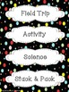 Black Colorful Polka Dot Schedule Cards