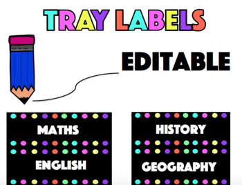 Black Coloured Dot Tray Labels - EDITABLE