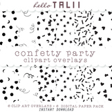 Black Confetti Party Clipart Overlays- 6 Transparent PNG + 6 JPG Digital Papers-