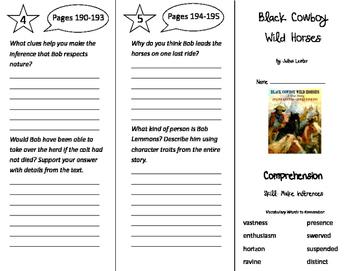 Black Cowboy Wild Horses Trifold - California Treasures 5th Grade Unit 2 Week 3