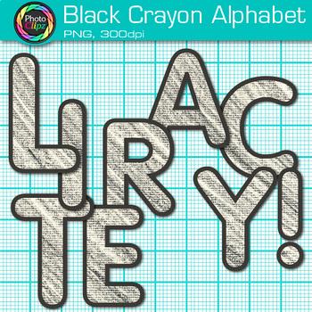 Black Crayon Alphabet Clip Art {Great for Classroom Decor & Resources}