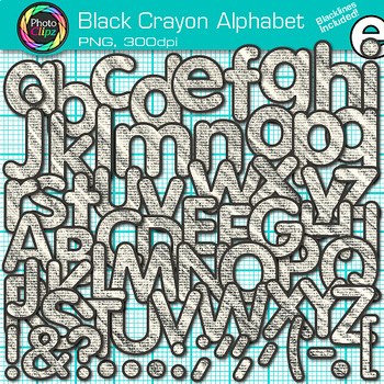 Black Crayon Alphabet Clip Art {Great for Classroom Decor & Resources}