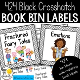 Classroom Library Labels:Book Bin Labels & Matching Book Labels Black Crosshatch