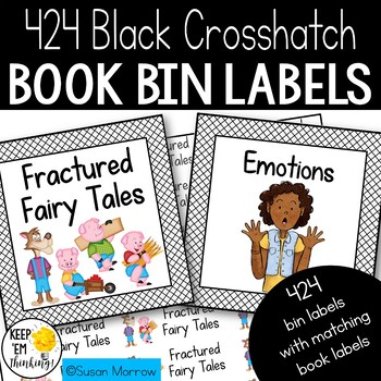 Black Crosshatch Book Bin Labels Editable! - Special Request