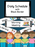 Black Daily Schedule with Visual Pictures