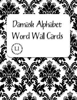 Black Damask Alphabet Word Wall Cards
