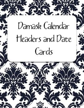 Black Damask Calendar Kit: Headers and Date Cards