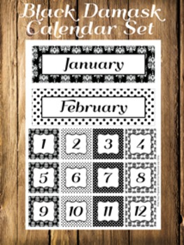 Black Damask Calendar Set - Months - Days - Numbers