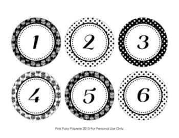 Black Damask Cubby Number Labels 1-30