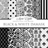 Black Damask Digital Paper patterns black and white scrapbook background