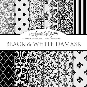 Black Damask Digital Paper patterns black and white scrapbook background