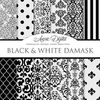 Black Damask Digital Paper patterns black and white scrapb