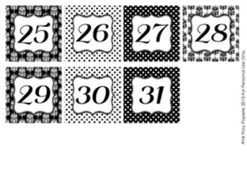 Black Damask and Dot Classroom Decor Monthly Calendar Numbers