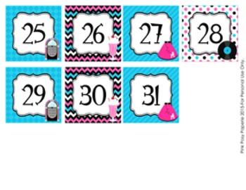 50s Sock Hop Classroom Decor Monthly Calendar Numbers