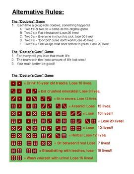Black Death (Bubonic Plague) Dice Game