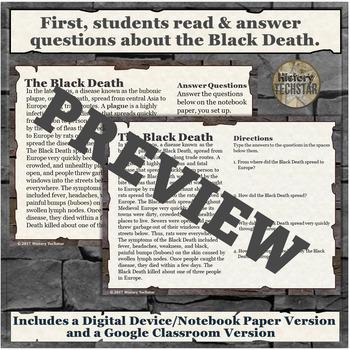 Black Death Short Story Writing Activity