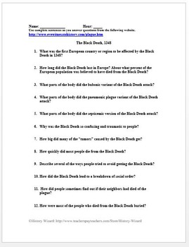 Black Death in Four Minutes Video Worksheet (Middle Ages) by ...