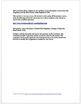 Black Death Primary Source Worksheet: The Flagellants, 1349