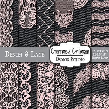 Black Denim And Pink Lace Digital Paper 1474