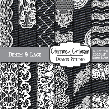 Black Denim and White Lace Digital Paper 1473