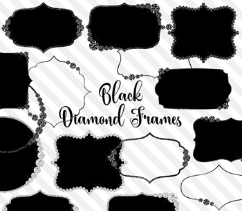 Black Diamond Frames Clipart, glam PNG commercial use graphics