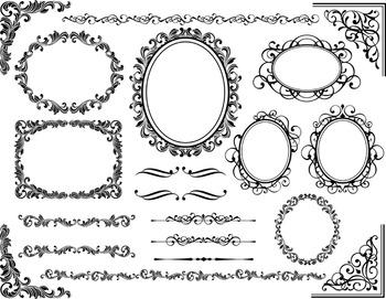 Black Digital Frame Ornate Clip Art Black Flourish Swirls Frame Border Clipart