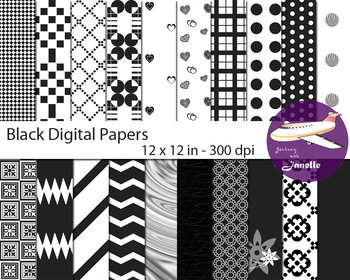 Black Digital Papers for Backgrounds, Scrapbooking and Classroom Decorations