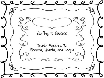 Black Doodle Borders 2: Flowers, Hearts and Loops