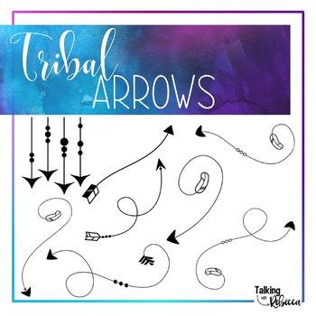 Black Doodle Tribal Arrows Clipart