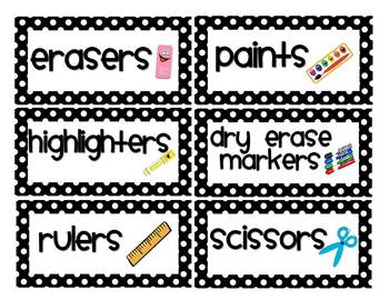 Black Dot Classroom Labels (with and w/o pictures) - 3 editable sizes