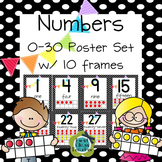Ten Frame Posters (0-30) in 3 sizes (CCSS) - Black Dot