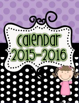 Black Dots Calendar 2015-2016