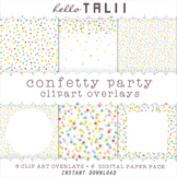 Rainbow Dots Confetti Clipart Overlays- 6 Transparent PNG