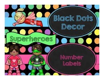 Black Dots Superheroes: Number Labels