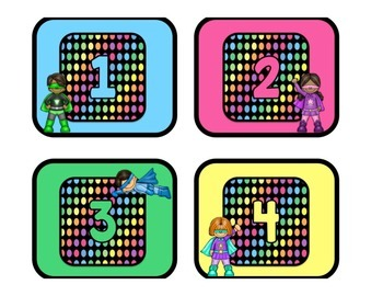 Black Dots Superheroes: Number Labels