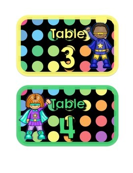 Black Dots Superheroes: Table Numbers