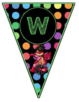 Black Dots Superheroes: Welcome Banner & Editable Pennants