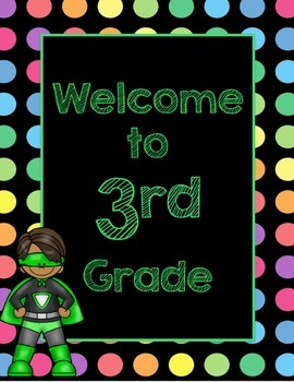 Black Dots Superheroes: Welcome to ___ Grade (Green)