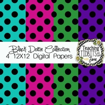 Digital Papers - Black Dottie Collection {4 Free 12X12 Digital papers}