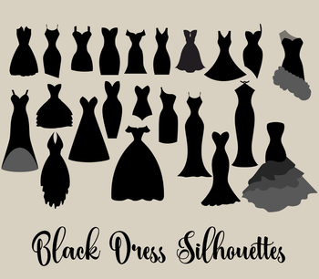 Black Dress Silhouettes clipart, vector fashion wedding clip art